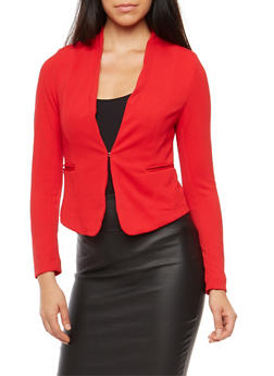 Textured Knit Blazer - 1414069390472