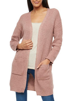 Heavy Knit Long Cardigan - MAUVE - 1414069391480