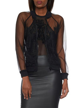 Sheer Mesh Bomber Jacket with Lace Front - 1414069392000