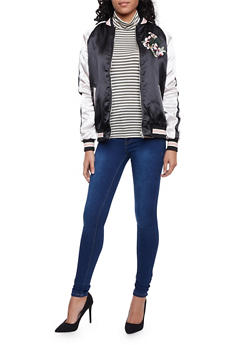 Color Block Satin Bomber Jacket with Embroidery - 1414069392002