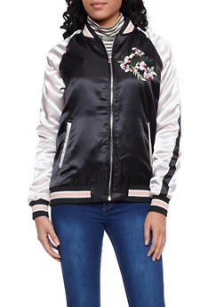 Color Block Satin Bomber Jacket with Embroidery - BLACK - 1414069392002