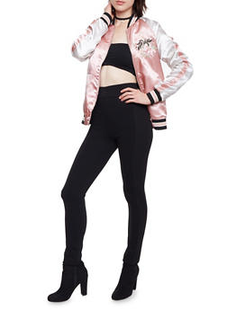 Color Block Satin Bomber Jacket with Embroidery - BLUSH - 1414069392002