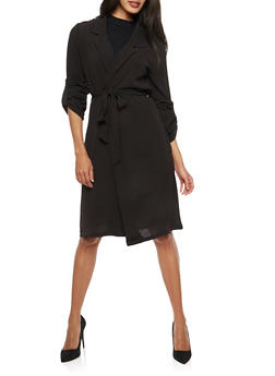 Belted Roll Sleeve Duster - 1414069392014