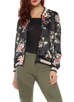Satin Bomber Jacket in Floral Print - BLACK - 1414069392057
