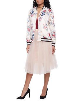 Satin Bomber Jacket in Floral Print - 1414069392057