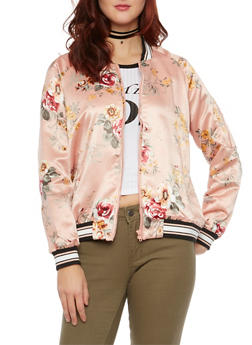 Satin Bomber Jacket in Floral Print - BLUSH - 1414069392057
