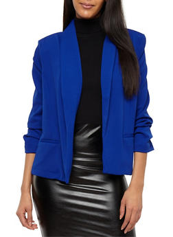 Open Front Ruched Sleeve Blazer - 1414069392141