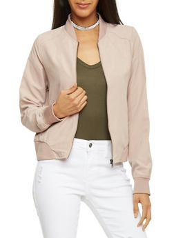 Brushed Knit Bomber Jacket - KHAKI - 1414069392424