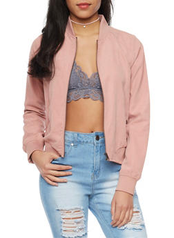 Brushed Knit Bomber Jacket - MAUVE - 1414069392424