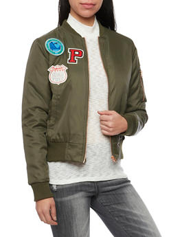 Padded Bomber Jacket with Patches - OLIVE - 1414069392435