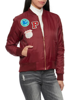 Padded Bomber Jacket with Patches - WINE - 1414069392435