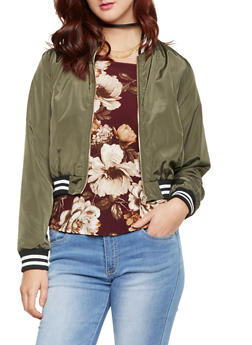 Bomber Jacket with Striped Trim - 1414069392461