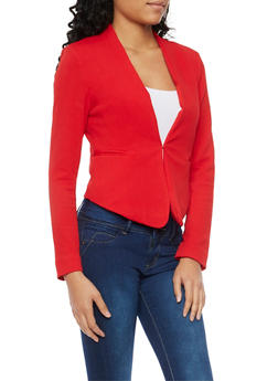 Solid Knit Blazer - RED - 1414069392472