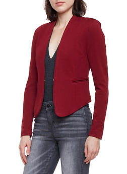 Solid Knit Blazer - WINE - 1414069392472