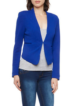 Solid Knit Blazer - BLUE - 1414069392472