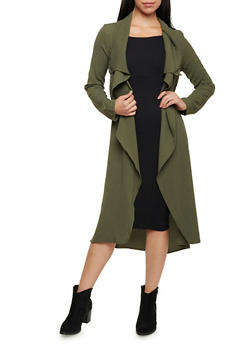 Belted Duster with Draped Open Front - 1414069392491