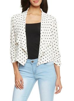 Open Front 3/4 Sleeve Polka Dot Blazer - WHT-BLK - 1414069392502