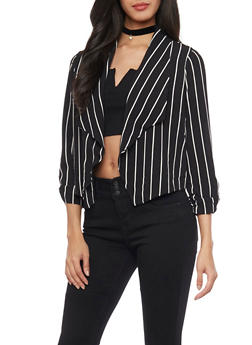 Striped Open Front Blazer - BLACK/WHITE - 1414069392503
