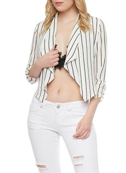 Striped Open Front Blazer - 1414069392503