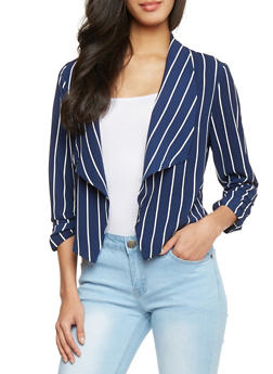 Striped Open Front Blazer - NAVY WHT - 1414069392503