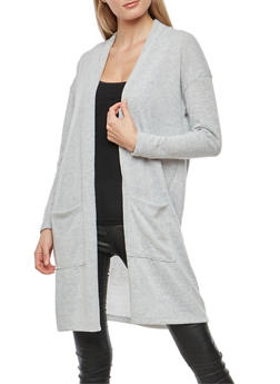 Soft Knit Open Front Cardigan - 1414069392550