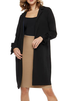 Side Slit Tie Sleeve Duster - 1414069392563