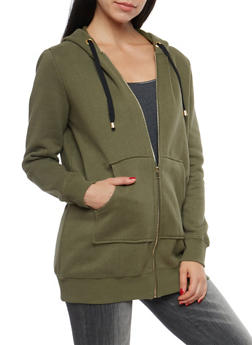 Fleece Lined Zip Up Hooded Sweatshirt - 1414069392566