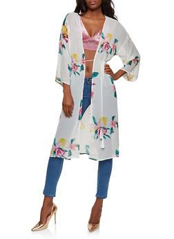 Floral Chiffon Kimono - 1414069392594