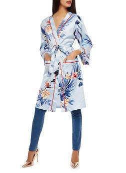 Floral Satin Kimono - 1414069392608