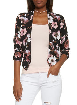 Floral Draped Lapel Open Blazer - 1414069395020