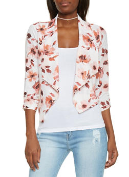 Floral Draped Lapel Open Blazer - BLUSH IVORY - 1414069395020