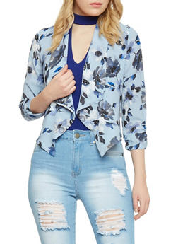 Floral Draped Lapel Open Blazer - BLUE - 1414069395020