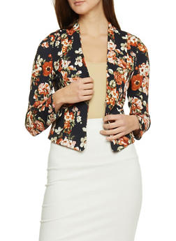 Textured Knit Floral Blazer - 1414069397219