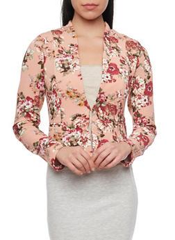 Textured Knit Floral Blazer - BLUSH - 1414069397219