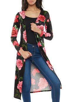 Velvet Rose Print Duster - 1414072246523