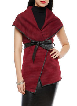 Quilted Vest with Faux Leather Trim - 1414072290154