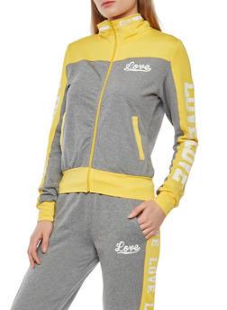 Love Graphic Color Block Zip Jacket - 1414072291921