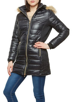 Long Faux Fur Hooded Puffer Jacket - 1414074431418