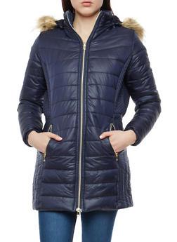 Long Faux Fur Hooded Puffer Jacket - 1414074431418
