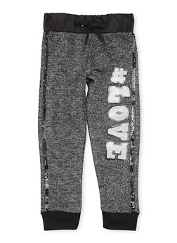 Toddler Girls Joggers with Glitter Love Graphic - 1501038341103
