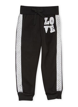 Toddler Girls Joggers with Metallic Love Patch - 1501038341104