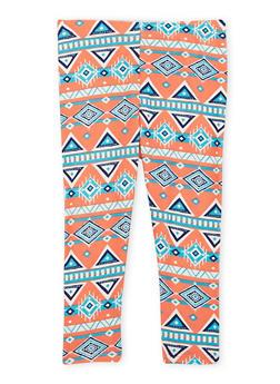 Toddler Girls Brushed Leggings with Aztec Print - 1501061954601