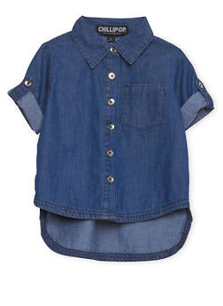 Toddler Girls Denim Shirt with High Low Hem - 1503038340301