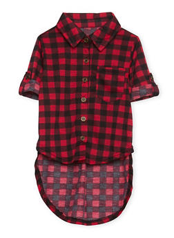 Toddler Girls Plaid Shirt with High Low Hem - 1503038340400