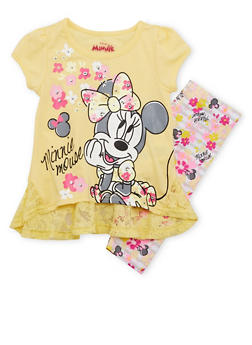 Toddler Girls Minnie Mouse Graphic Top with Printed Leggings Set - 1505009297908