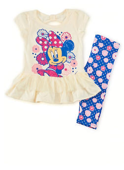 Toddler Girls Minnie Mouse Tee and Printed Leggings Set - 1505009297914
