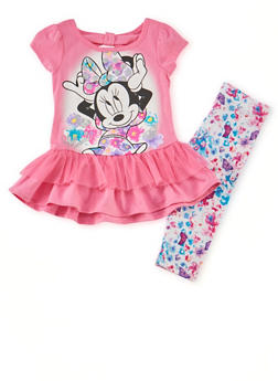 Toddler Girls Minnie Peplum Top and Leggings with Butterfly Floral Print - 1505009297915