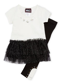 Toddler Girls Tutu T Shirt Dress with Leggings Set - 1505021288300