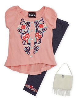 Toddler Girls Printed Top with Knit Denim Leggings and Purse Set - 1505021288431