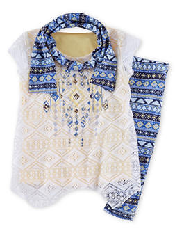 Toddler Girls Lace Front Top and Aztec Legging Set With Scarf - 1505023136601